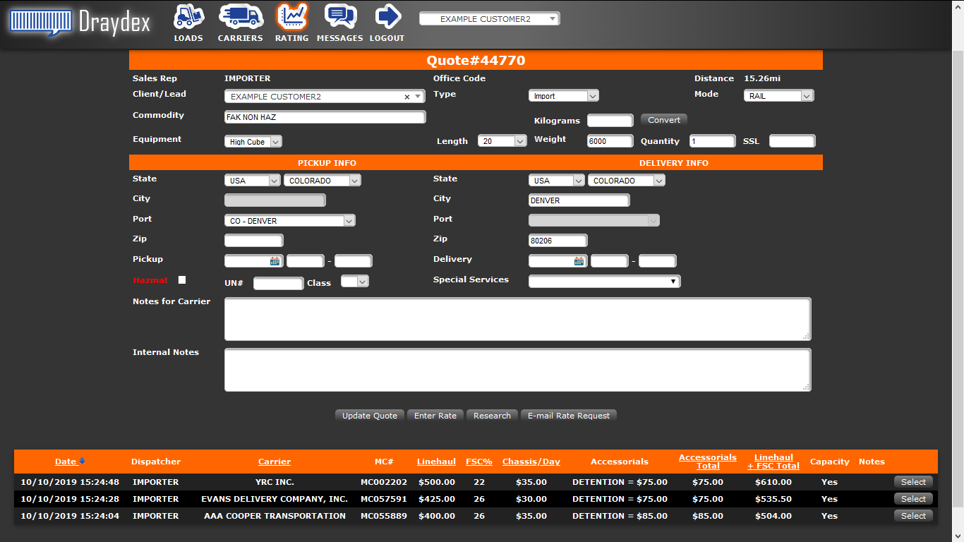 Freight Management Inc's rate management system is free