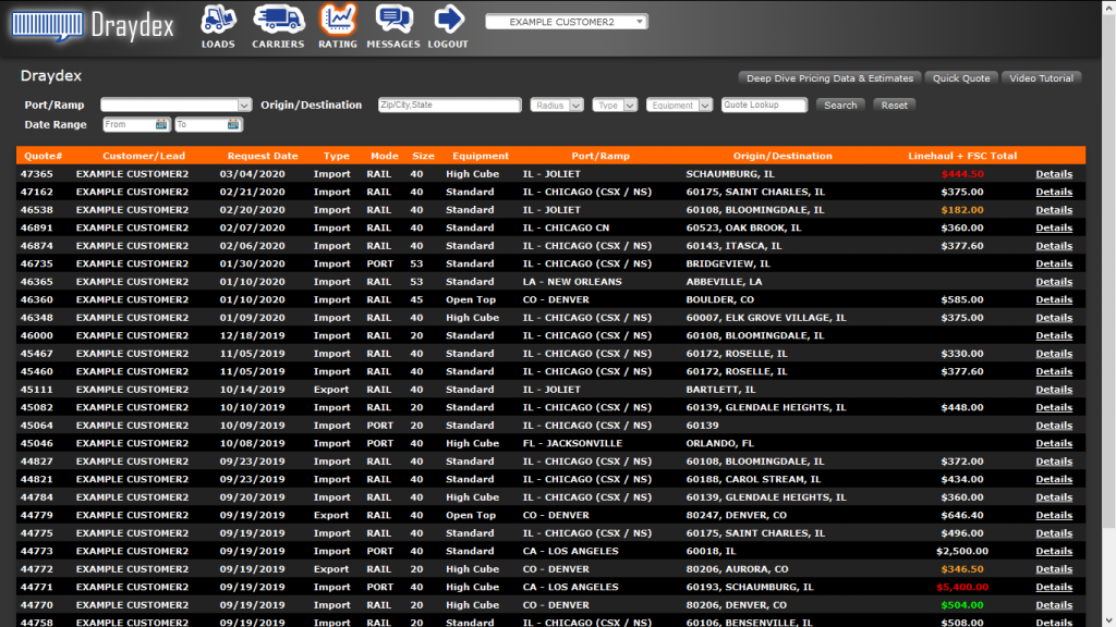 Draydex directory of drayage services